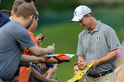 May 29, 2019 - Dublin, OH, U.S. - DUBLIN, OH - MAY 29: Former NFL quarterback Peyton Manning signs autographs for fans during the Pro-Am of the Memorial Tournament presented by Nationwide at Muirfield Village Golf Club on May 30, 2018 in Dublin, Ohio. (Photo by Adam Lacy/Icon Sportswire) (Credit Image: © Adam Lacy/Icon SMI via ZUMA Press)