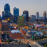 Panoramic dusk aerial picture, downtown Kansas City, Missouri.