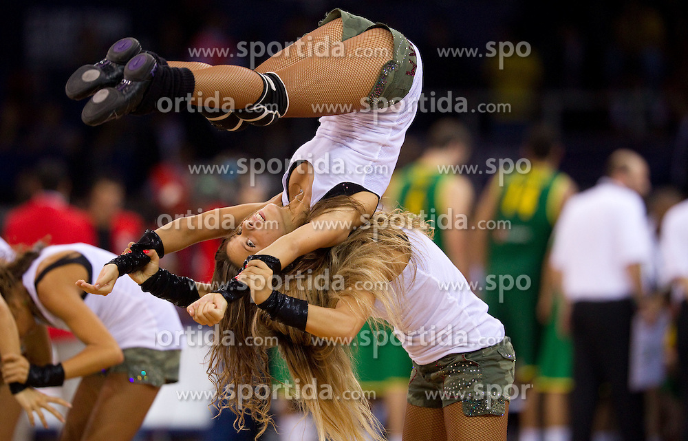 Russian cheerleaders perform during a time out at the Preliminary Round - Group B basketball match between National teams of USA and Brasil at 2010 FIBA World Championships on August 30, 2010 at Abdi Ipekci Arena in Istanbul, Turkey. (Photo By Vid Ponikvar / Sportida.com)