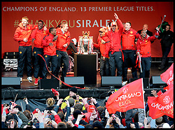 Manchester United players in Albert Square, Manchester,  As Manchester United celebrate winning their 20th league title winning the Premier League, Monday May 13, 2013. Photo by: Andrew Parsons / i-Images
