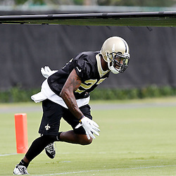 May 31, 2012; Metairie, LA, USA; New Orleans Saints safety Malcolm Jenkins (27) during organized team activities at the team's practice facility. Mandatory Credit: Derick E. Hingle-US PRESSWIRE