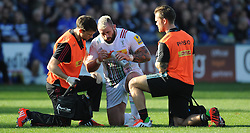 Joe Marler is seen to by Physios.  - Mandatory byline: Alex Davidson/JMP - 07966386802 - 31/10/2015 - RUGBY - Recreation Ground -Bath,England - Bath Rugby v Harlequins - Aviva Premiership
