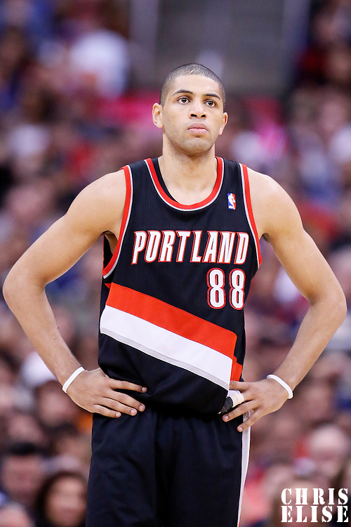 12 February 2014: Portland Trail Blazers small forward Nicolas Batum (88) rests during the Los Angeles Clippers 122-117 victory over the Portland Trail Blazers at the Staples Center, Los Angeles, California, USA.
