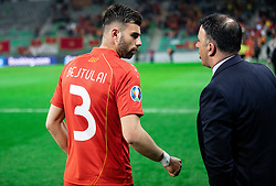 Egzon Bejtulai of Macedonia and Igor Angelovski, coach of Macedonia during football match between National teams of Slovenia and North Macedonia in Group G of UEFA Euro 2020 qualifications, on March 24, 2019 in SRC Stozice, Ljubljana, Slovenia. Photo by Vid Ponikvar / Sportida