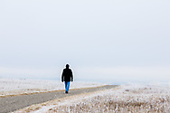 A winter walk, a man walks alone through the frost covered pairie