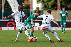 31.05.2015, Stadion Wolfsberg, Wolfsberg, AUT, 1. FBL, RZ Pellets WAC vs SK Rapid Wien, 35. Runde, im Bild v.l. Silvio Carlos De Oliveira (RZ Pellets WAC), Philipp Schobesberger (SK Rapid Wien) und Dario Baldauf (RZ Pellets WAC) // during the Austrian Football Bundesliga 35th Round match between RZ Pellets WAC and SK Rapid Vienna at the Stadium Wolfsberg in Wolfsberg Austria on 2015/05/31, EXPA Pictures © 2015, PhotoCredit: EXPA/ Wolfgang Jannach