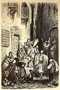 Une Rue d'Albacete [Street scene in Albacete] Page illustration from the book 'L'Espagne' [Spain] by Davillier, Jean Charles, barón, 1823-1883; Doré, Gustave, 1832-1883; Published in Paris, France by Libreria Hachette, in 1874