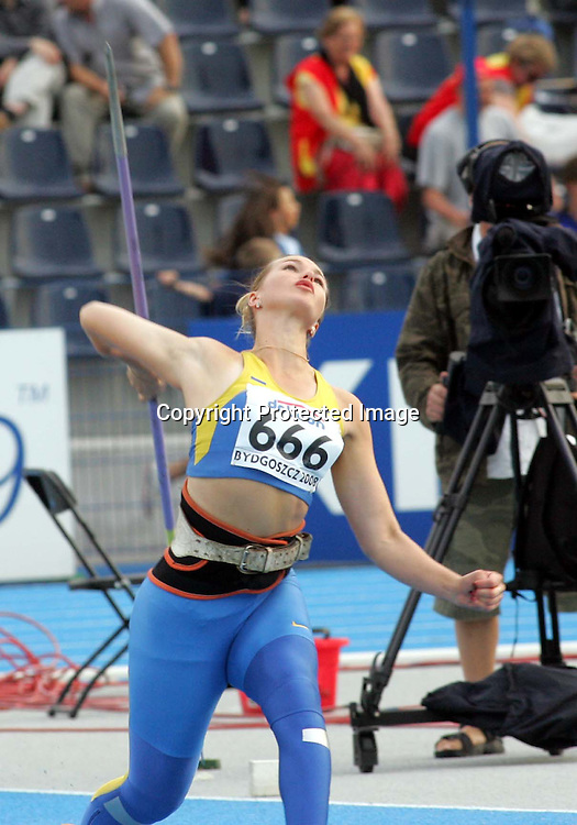 10.07.2008 Bydgoszcz-Poland<br />12th IAAF World Junior Championship<br />Vira Rebryk Ukraine jevelin women final world champion<br />Foto:Aleksandar Djorovic