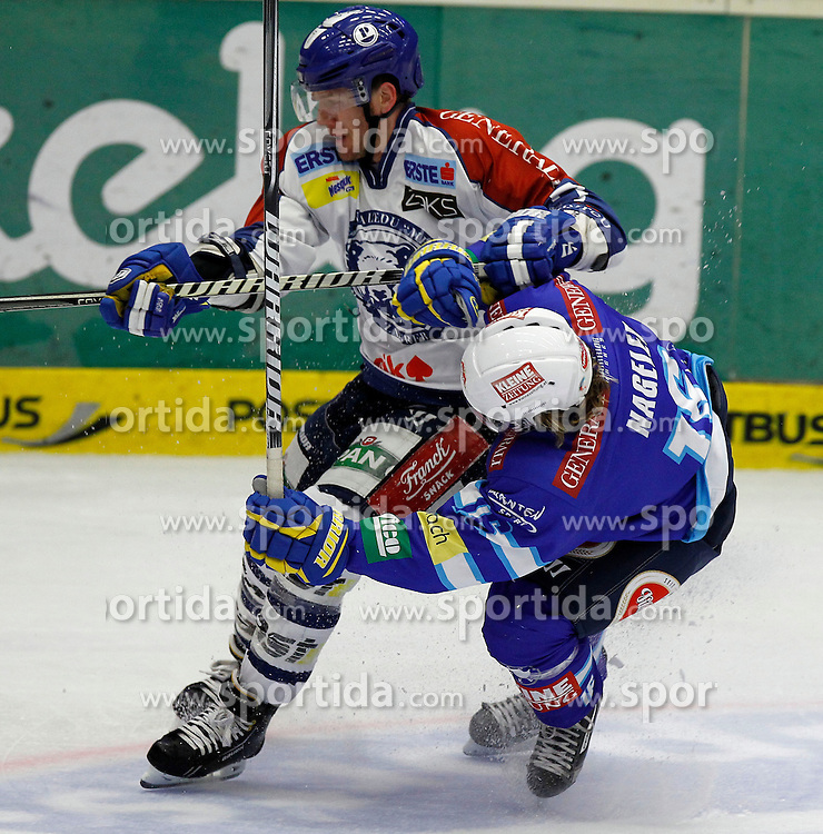 23.09.2012, Stadthalle, Villach, AUT, EBEL, EC VSV vs KHL Medvescak Zagreb, 6. Runde, im Bild Adam Naglich (Zagreb,#7) und Daniel Nageler (VSV,#16) // during the Erste Bank Icehockey League 06th Round match between EC VSV vs KHL Medvescak Zagreb at the City Hall, Villach, Austria, 2012/09/23, EXPA Pictures © 2012, PhotoCredit: EXPA/ Oskar Hoeher