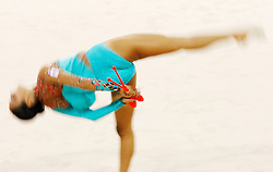 Canada's Alexandra Orlando performs with the clubs during the individual all-around qualifications for rhythmic gymnastics during the Olympic games in Beijing, China, 22 August 2008.