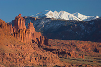 Fisher Towers and the snowcapped La Sal Mountains near Moab Utah