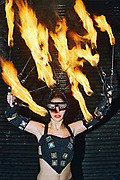 A women with flames at Funktup, December 2004