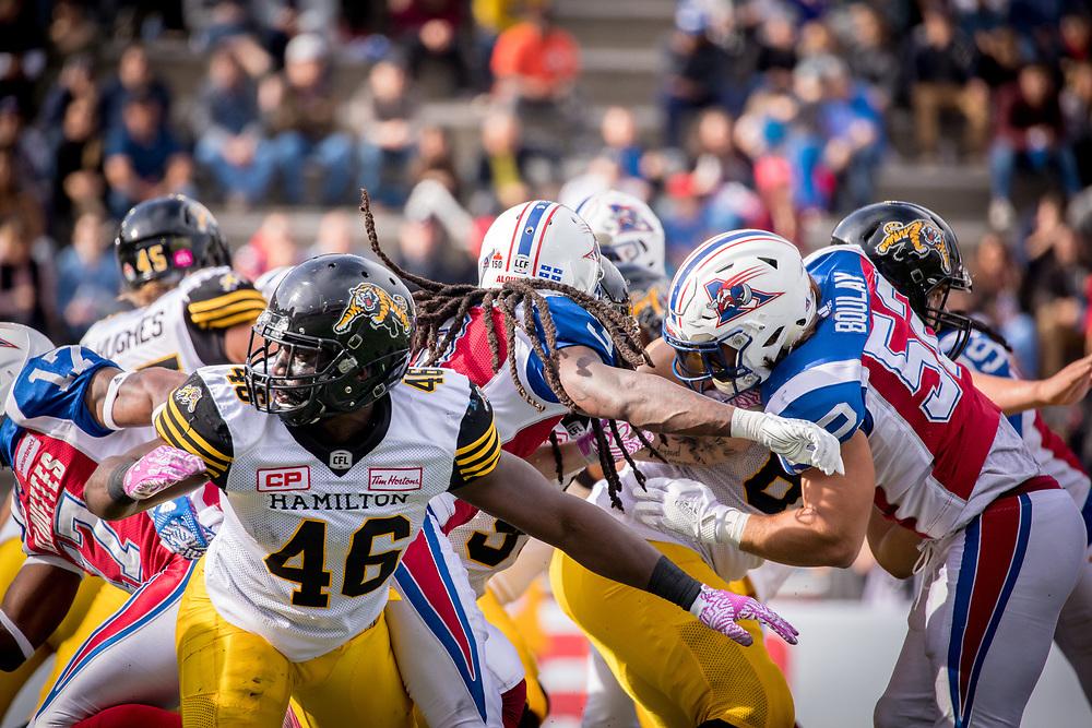 match des Alouettes contre les Tigers Cats d'hamilton &agrave; Montreal le 22 Octobre 2017<br /> <br /> photo: Dominick Gravel
