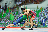 Ashgabat 2017 - 5th Asian Indoor & MartialArts Games 25-09-2017. Wrestling Womens 53kg - Y. Madyarowa (TKM) v S. Eshmuratova (UZB)