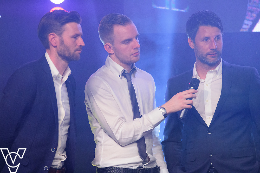 Rob Makepeace interviews Danny and Nicky Cowley<br /> <br /> Lincoln City Football Club's 2016/17 End of Season Awards night - Champions Seasons Awards Dinner - held at the Lincolnshire Showground.<br /> <br /> Picture: Andrew Vaughan for Lincoln City Football Club<br /> Date: May 20, 2017 Champions Seasons Awards Dinner: