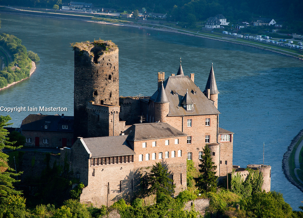 Historic castle  Burg Katz above River Rhine at St Goarhausen, Rhineland Palatinate Germany