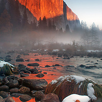 Early winter sunset light on El Capitan, Yosemite National Park, California.