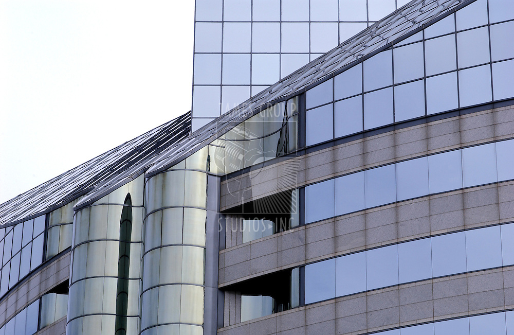 office building with curved glass exterior