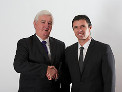 CARDIFF, WALES - Tuesday, December 14, 2010: Wales' new manager Gary Speed pictured with Football Association of Wales President Phil Pritchard (L) at the Vale of Glamorgan Hotel after his appointment by the FAW. (Pic by: David Rawcliffe/Propaganda)