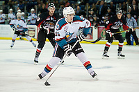 KELOWNA, CANADA - SEPTEMBER 5: Kole Lind #16 of Kelowna Rockets skates with the puck against the Prince George Cougars on September 5, 2015 during the first pre-season game at Prospera Place in Kelowna, British Columbia, Canada.  (Photo by Marissa Baecker/Shoot the Breeze)  *** Local Caption *** Kole Lind;