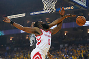 April 30, 2019; Oakland, CA, USA; Golden State Warriors forward Kevin Durant (35) blocks the shot of Houston Rockets guard James Harden (13) during the first quarter in game two of the second round of the 2019 NBA Playoffs at Oracle Arena.