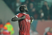 Goal - Famara Diedhiou (9) of Bristol City celebrates scoring a goal to give a 1-0 lead to the home team during the EFL Sky Bet Championship match between Bristol City and Bolton Wanderers at Ashton Gate, Bristol, England on 26 September 2017. Photo by Graham Hunt.