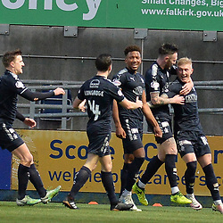 Myles Hippolyte (Falkirk) celebrates scoring Falkirk's second goal during the Scottish Championship clash between Falkirk and Queen of the South at the Falkirk Stadium, where the home side pulled off a shock win.<br /> <br /> (c) Dave Johnston | sportPix.org.uk