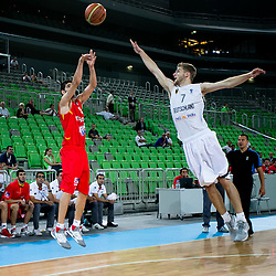 Alejandro Abrines of Spain shots while Mathis Moenninghoff of Germany during basketball match between National teams of Serbia and Latvia in Quarterfinal Match of U20 Men European Championship Slovenia 2012, on July 20, 2012 in SRC Stozice, Ljubljana, Slovenia. (Photo by Matic Klansek Velej / Sportida.com)