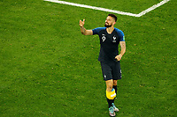 SAINT PETERSBURG, RUSSIA - JULY 10: Olivier Giroud of France national team celebrates victory during the 2018 FIFA World Cup Russia Semi Final match between France and Belgium at Saint Petersburg Stadium on July 10, 2018 in Saint Petersburg, Russia. MB Media