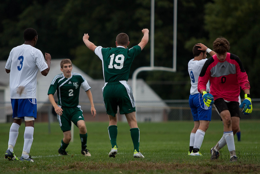West Deptford's Hunter Holmstrom celebrates scoring the game's first goal during the first match of the season at Sterling High School on Thursday September 8, 2011.