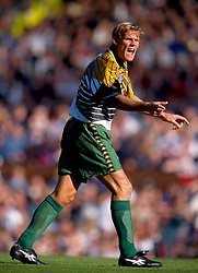 24/5/1997 International Football Friendly.<br /> England v South Africa.<br /> Neil Tovey shouts at his team-mates.<br /> Photo: Mark Leech / Offside