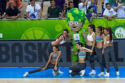 04.09.2013, Arena Bonifka, Koper, SLO, Eurobasket EM 2013, Russland vs Italien, im Bild Cheerleaders Kazina with mascot Lipko // during Eurobasket EM 2013 match between Russia and Italy at Arena Bonifka in Koper, Slowenia on 2013/09/04. EXPA Pictures © 2013, PhotoCredit: EXPA/ Sportida/ Matic Klansek Velej<br /> <br /> ***** ATTENTION - OUT OF SLO *****