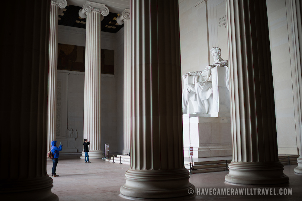 Statue of Abraham Lincoln inside the Lincoln Memorial in Washington DC.