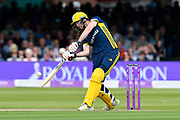 James Fuller of Hampshire goes on the attack during the Royal London 1 Day Cup Final match between Somerset County Cricket Club and Hampshire County Cricket Club at Lord's Cricket Ground, St John's Wood, United Kingdom on 25 May 2019.