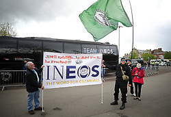 Demonstrators protesting against INEOS at the start of the start of stage one during stage one of the Tour de Yorkshire.