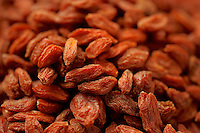 Macro shot of dried Goji berries or Wolf berries.