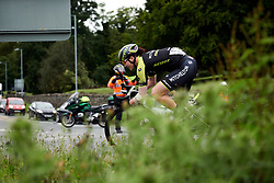 Sarah Roy (AUS) in a solo move through Shilton at Stage 4 of 2019 OVO Women's Tour, a 158.9 km road race from Warwick to Burton Dassett, United Kingdom on June 13, 2019. Photo by Sean Robinson/velofocus.com