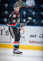 KELOWNA, CANADA - SEPTEMBER 9: Tate Coughlin #18 of Kelowna Rockets warms up against the Kamloops Blazers on September 9, 2016 at Prospera Place in Kelowna, British Columbia, Canada.  (Photo by Marissa Baecker/Shoot the Breeze)  *** Local Caption *** Tate Coughlin;