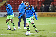 Forest Green Rovers Chris Clements(22) warming up during the EFL Sky Bet League 2 match between Crewe Alexandra and Forest Green Rovers at Alexandra Stadium, Crewe, England on 20 March 2018. Picture by Shane Healey.