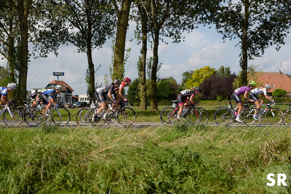 Audrey Cordon and Anouk Rijff speed by as the peloton gets strung out at the 116 km Stage 5 of the Boels Ladies Tour 2016 on 3rd September 2016 in Tiel, Netherlands. (Photo by Sean Robinson/Velofocus).