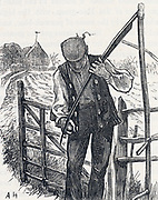 Haymaker sharpening his scythe. Engraving, 1875.