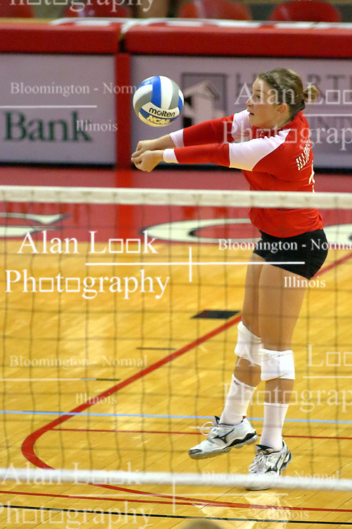 31 Aug 2010: Jenny Menendez uses double fists to put the ball to the front row. The Illinois State Redbirds trumped the Rambles of Loyola-Chicago 3 sets to none at Redbird Arena on the campus of Illinois State University in Normal Illinois.