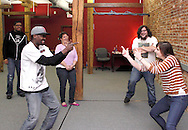 (from left) CJ Jones of Riverside, Nate Washington of Dayton, Molly Guyer-Reed of Oakwood, Aaron Phillips of Dayton and Kathy Roll of Dayton during a Lofty Aspirations improv class at The Livery in the Oregon Arts District in Dayton, Wednesday, February 15, 2012.
