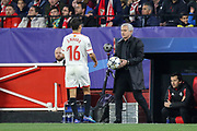 Manchester United Manager Jose Mourinho gives Sevilla midfielder Jesus Navas (16) the ball during the Champions League match between Sevilla and Manchester United at the Ramon Sanchez Pizjuan Stadium, Seville, Spain on 21 February 2018. Picture by Phil Duncan.