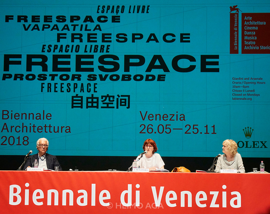 FREESPACE - 16th Venice Architecture Biennale. Opening press conference with Biennale President Paolo Baratta and Curators Yvonne Farrell and Shelley McNamara.
