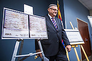 17 JULY 2012 - PHOENIX, AZ:  Maricopa County Sheriff JOE ARPAIO walks back to his chair at his announcement that President Obama's birth certificate is not authentic. Arpaio said his investigation proves that the long form birth certificate President Barrack Obama has used to prove his citizenship is a fraud. He also said that Hawaii's lax standards for getting a birth certificate may pose a serious flaw to the United States' national security.  PHOTO BY JACK KURTZ