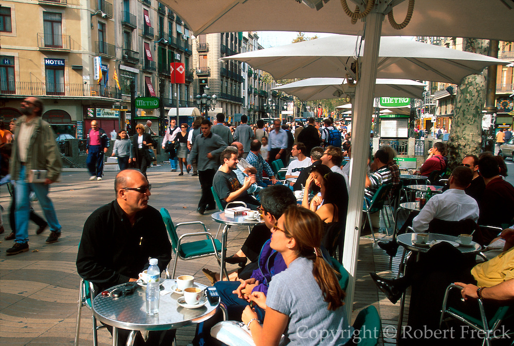 SPAIN, BARCELONA Las Ramblas with outdoor cafes