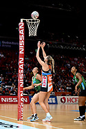 SYDNEY, AUSTRALIA - AUGUST 24: Caitlin Bassett of the Giants takes a shot during the round 14 Super Netball match between the Giants and the West Coast Fever at Qudos Bank Arena on August 24, 2019 in Sydney, Australia.(Photo by Speed Media/Icon Sportswire)