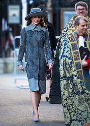 © Licensed to London News Pictures. 14/03/2016. London, UK. CATHERINE, Duchess of Cambridge leaves Westminster Abbey in London after attending a service to mark Commonwealth Day 2016.  Photo credit: Ben Cawthra/LNP