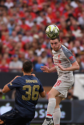 July 28, 2018 - Ann Arbor, MI, U.S. - ANN ARBOR, MI - JULY 28: Liverpool Defender Andy Robertson (26) heads the ball before Manchester United Defender Matteo Darmian (36) can get to it during the ICC soccer match between Manchester United FC and Liverpool FC on July 28, 2018 at Michigan Stadium in Ann Arbor, MI (Photo by Allan Dranberg/Icon Sportswire) (Credit Image: © Allan Dranberg/Icon SMI via ZUMA Press)